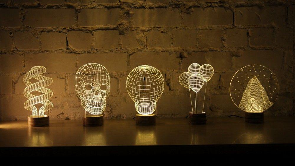 3D Tischleuchten aus Plexiglas-Bulbing