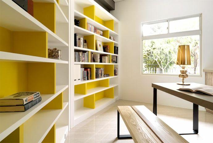 Bücherregal Wandregal Sitzbank Arbeitstisch Holz Tischleuchte Bücher Weiß Gelb modern-Luxus Designer Möbel
