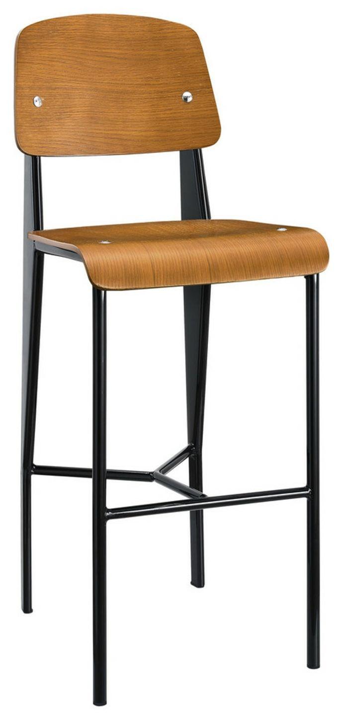 Barstuhl mit Rückenlehne aus Holz und Edelstahl-Barhocker Barstuhl Design