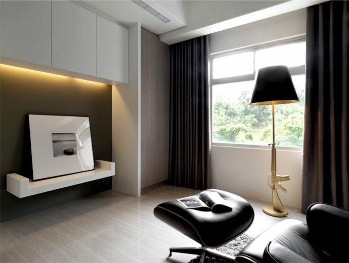 Bild Modern Schlicht Weiß Stehlampe Stehleuchte Vorhänge Fußhocker Ledersessel-Luxus Designer Möbel