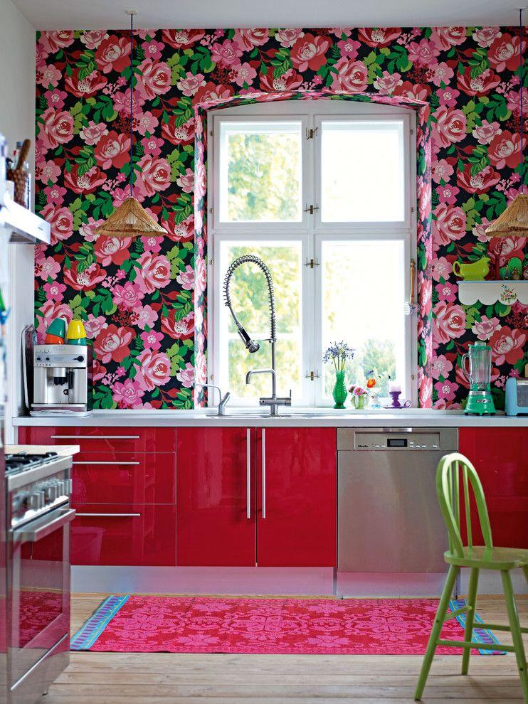 Blumenmuster-schöner wohnen-Vintage-Tapeten Ideen