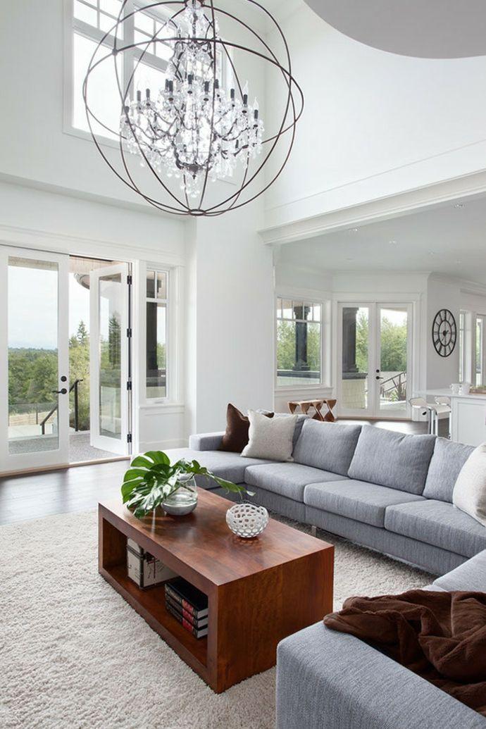 Couchtisch Holz Sphäre hohe Decke Sofasystem schlicht modern Weiß-Designer Kristall Kronleuchter