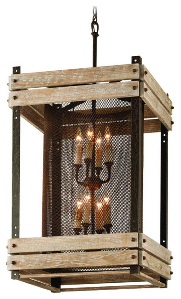 Deckenlampe Kerzen Holz-Industriedesign Hängeleuchte