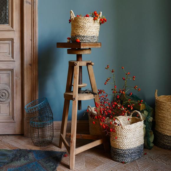 Deko Weidenkorb Ixel Holzgestell Blumen Pflanzen Vintage Naturholz-Einrichtungsideen