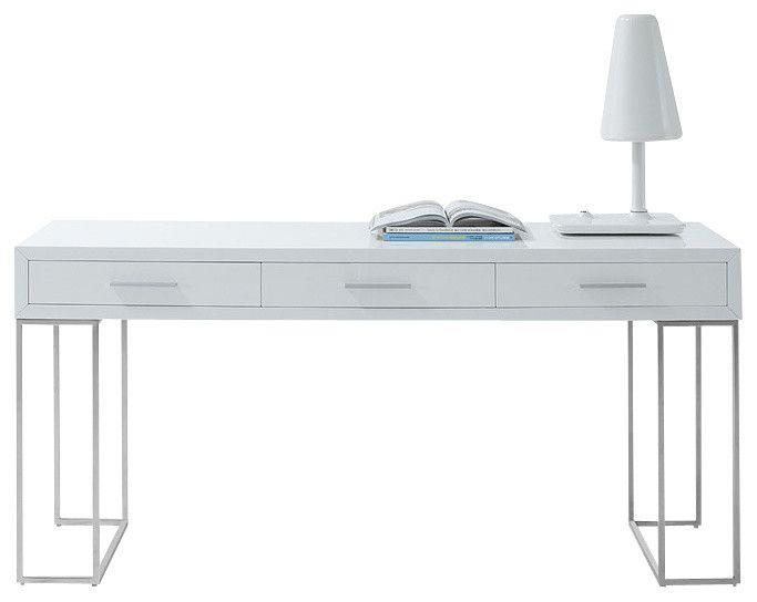 Designer minimalistisch Weiß Schubladen Metallfuß-Moderne Schreibtische