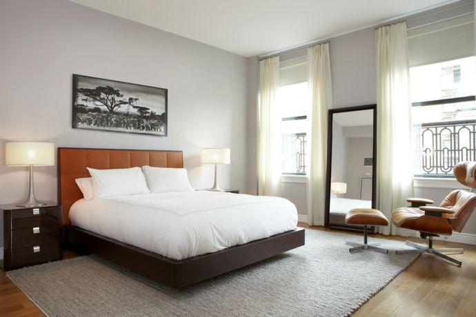 Doppelbett Bauhaus Look Ledersessel-Schlafzimmer design