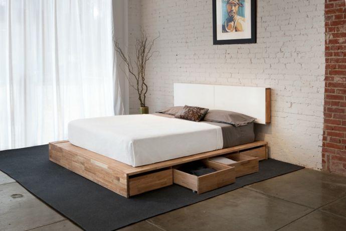 Doppelbett Nussbaum Stauraum Ziegelwand-Schlafzimmer design