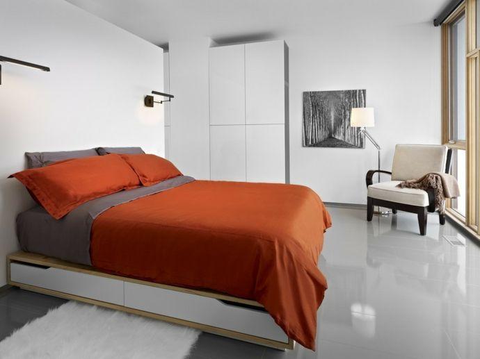 Doppelbett mit Schubladen weißer Schrank -Schlafzimmer design