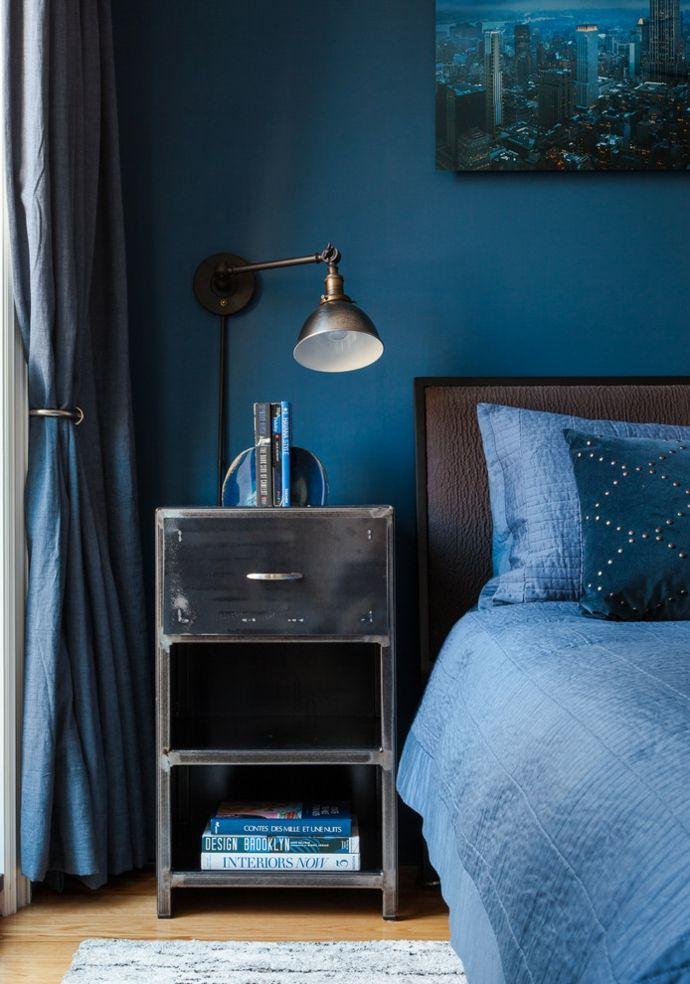 Dunkelblau Nachttisch industriell-Schlafzimmer design