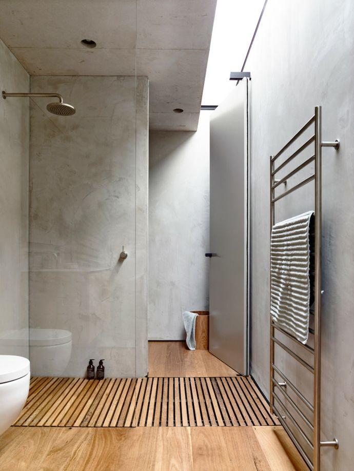 Dusche Duschkabine Duschboden Glas Badheizkörper Hellgrau Metallic -Badezimmergestaltung Holz