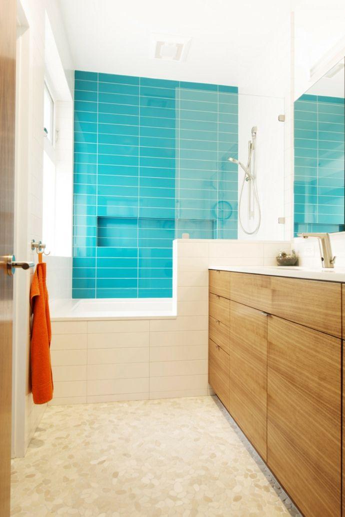 Duschkabine Badewanne Türkisgrün Weiß modern-Badezimmermöbel holz