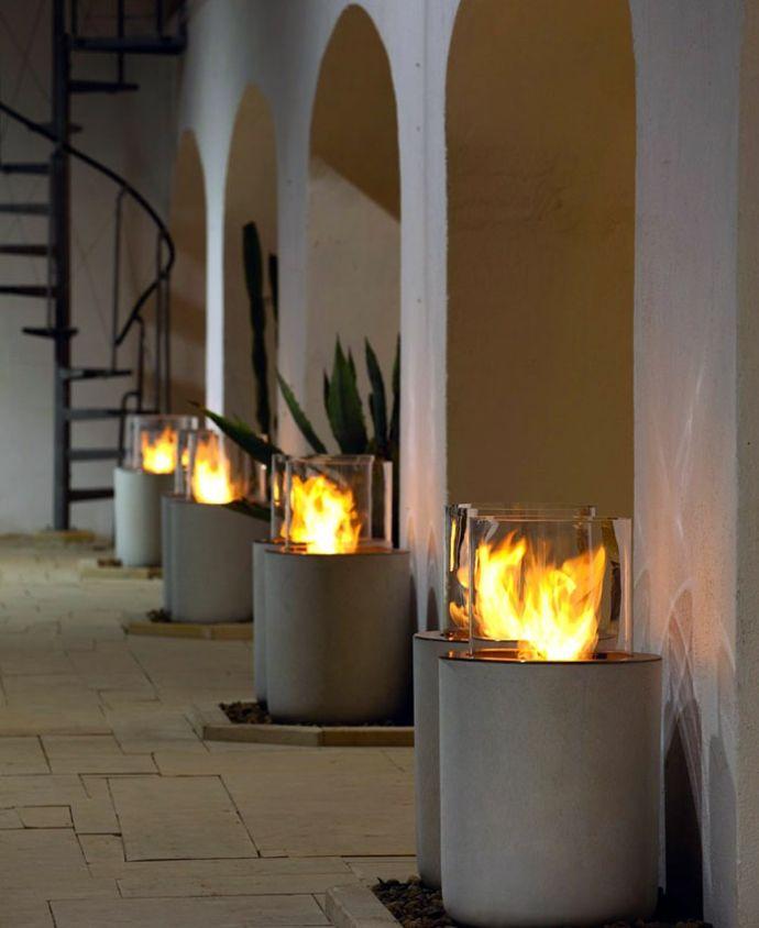 Eingang Außenbereich Beleuchtung Feuerstelle Gefäß Treppen rund-Dekoration aus Beton