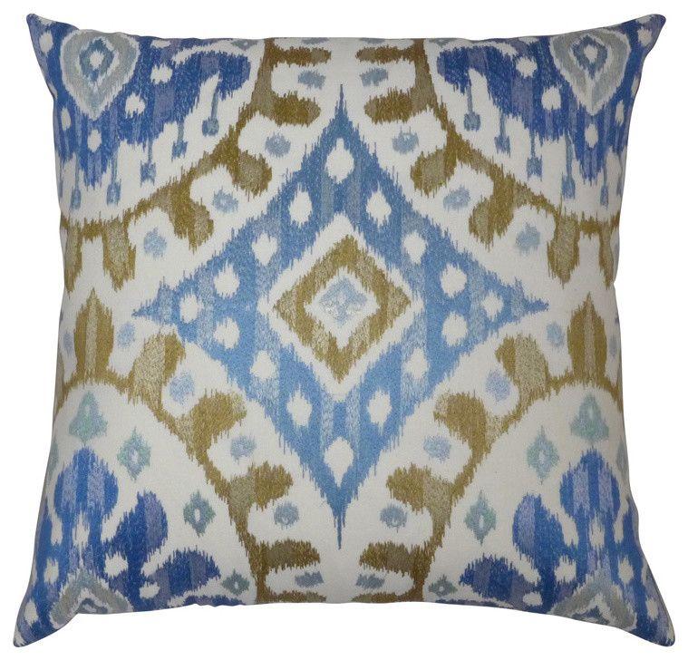 wohnzimmer deko blau:Eklektisches Deko Kissen mit interessantem Muster in Blau, Gelb und