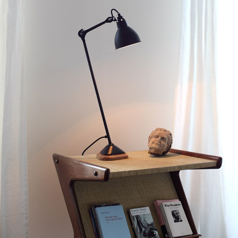 Exclusive Tischleuchte mit Holzsokel Schwarz schnittig stilvoll-Moderne Lampen