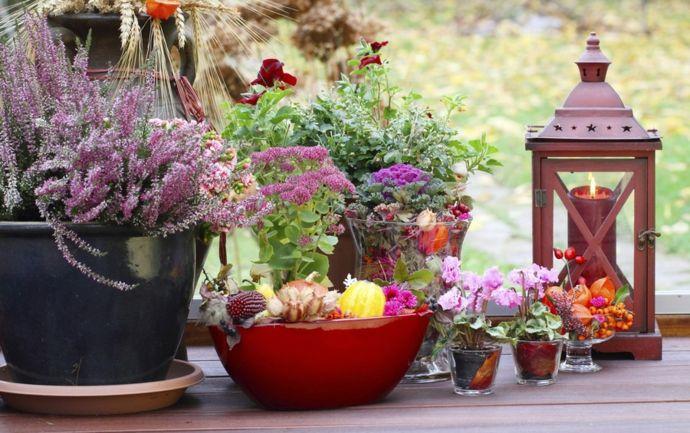 Garten Deko Blumen Laterne Windlicht