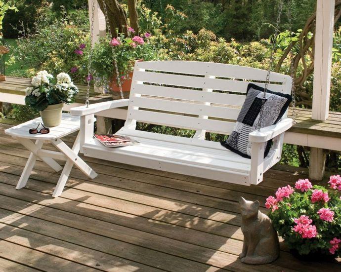 Gartenschaukel Holz Veranda Hinterhof Katzenfugur Blumen Weiß