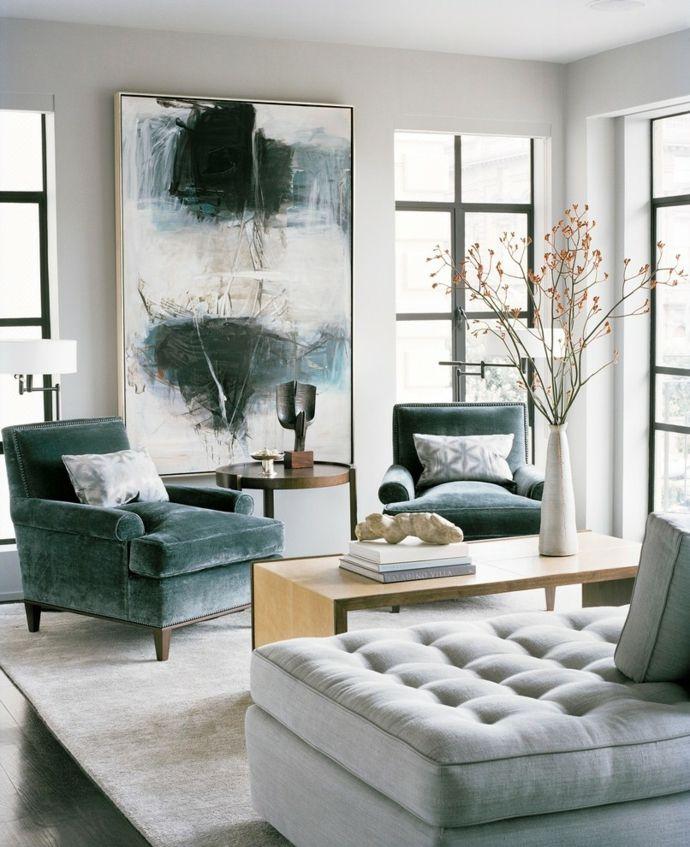 Gestaltung Samtsessel Holztisch zeitgenössische Malerei-Wohnzimmer Einrichtung Ideen