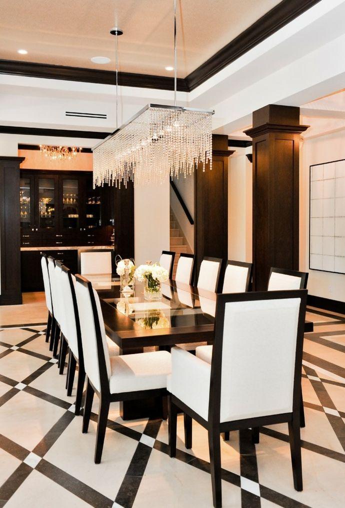 Glamourös Esszimmer Esstisch Weiß Stühle Holz elegant-Kristall Kronleuuchter