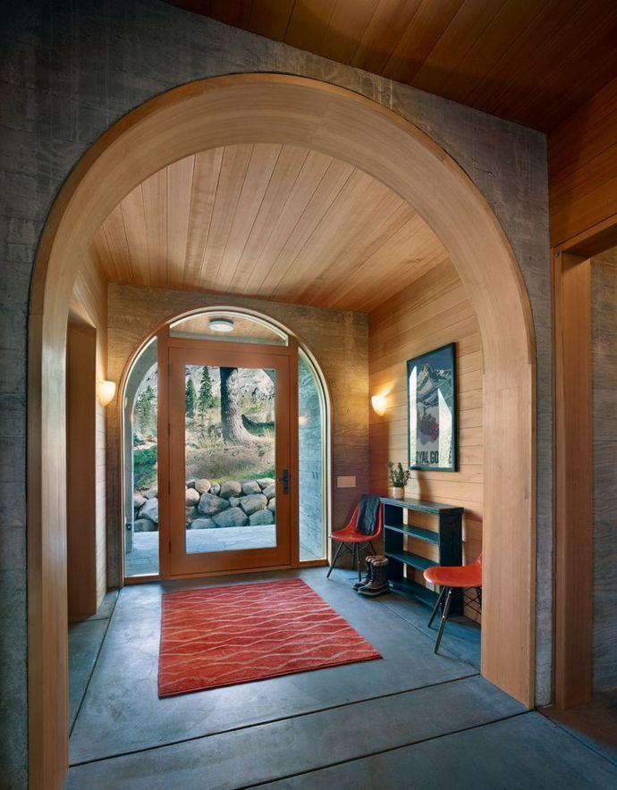 Haustür aus Glas Berghütte Holz Rundbogen-Flur Einrichtung