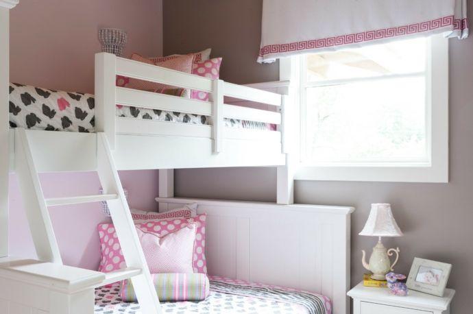 Hochbett in Weiß und Rosa-Kinderzimmer ideen