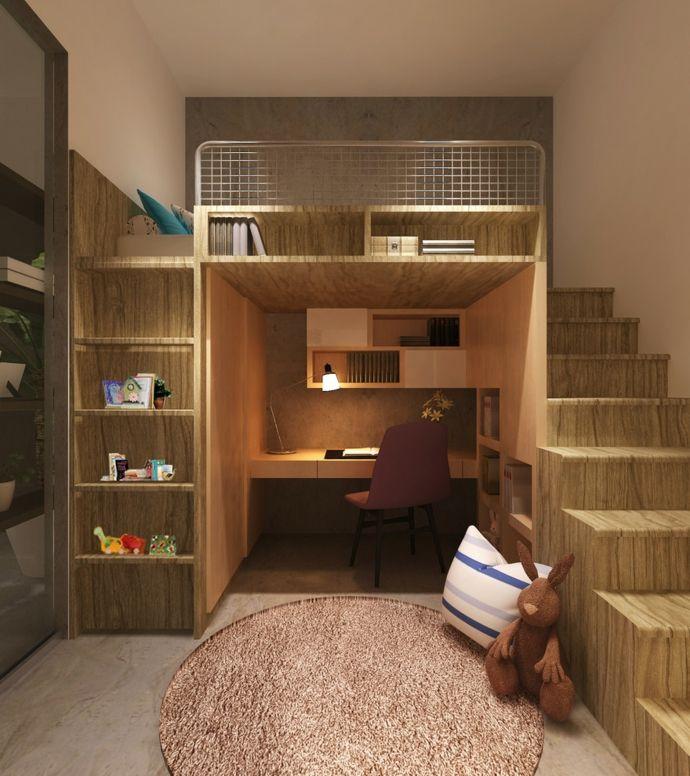 Hochbett modern mit Schreibtisch-Kinderzimmer ideen