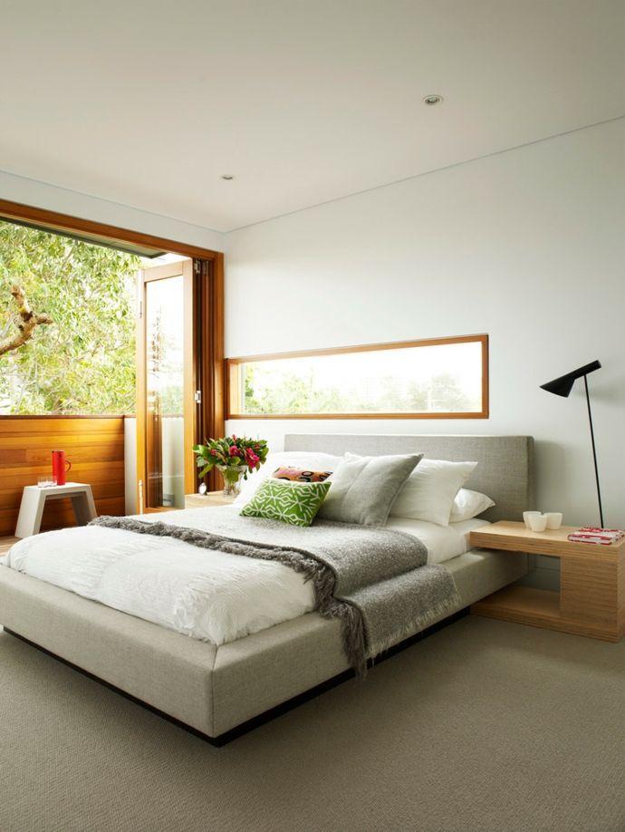 Holz Falttüren Doppelbett Weiß Grau-Schlafzimmer design