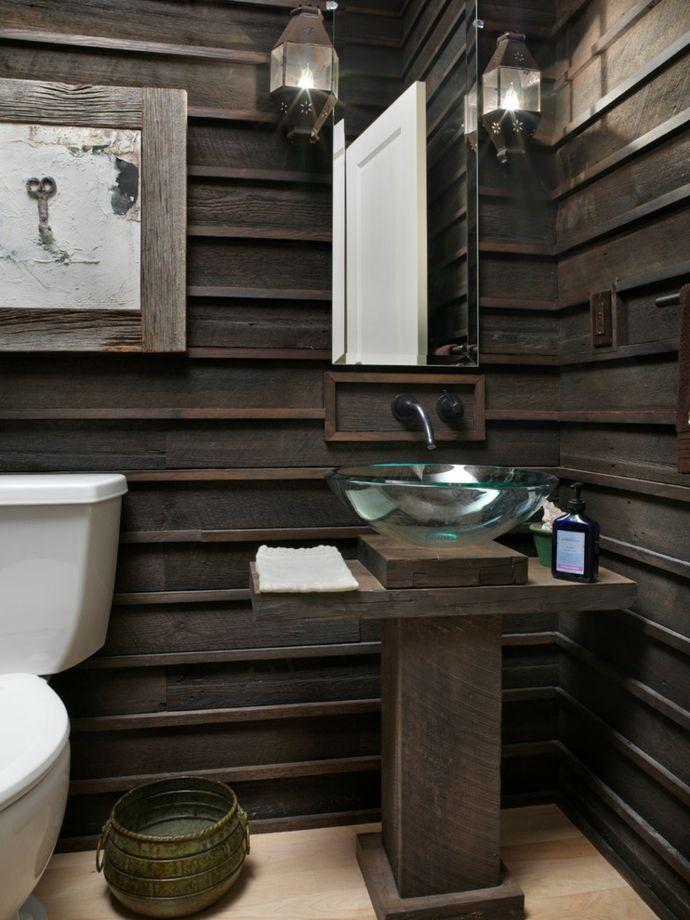 Holz Wandspiegel Waschtisch Laternen-Rustikale Badzimmer Möbel