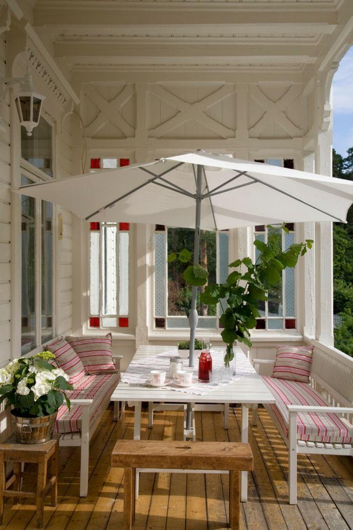 Ikea Hängesonnenschirm-Gestaltung der Veranda