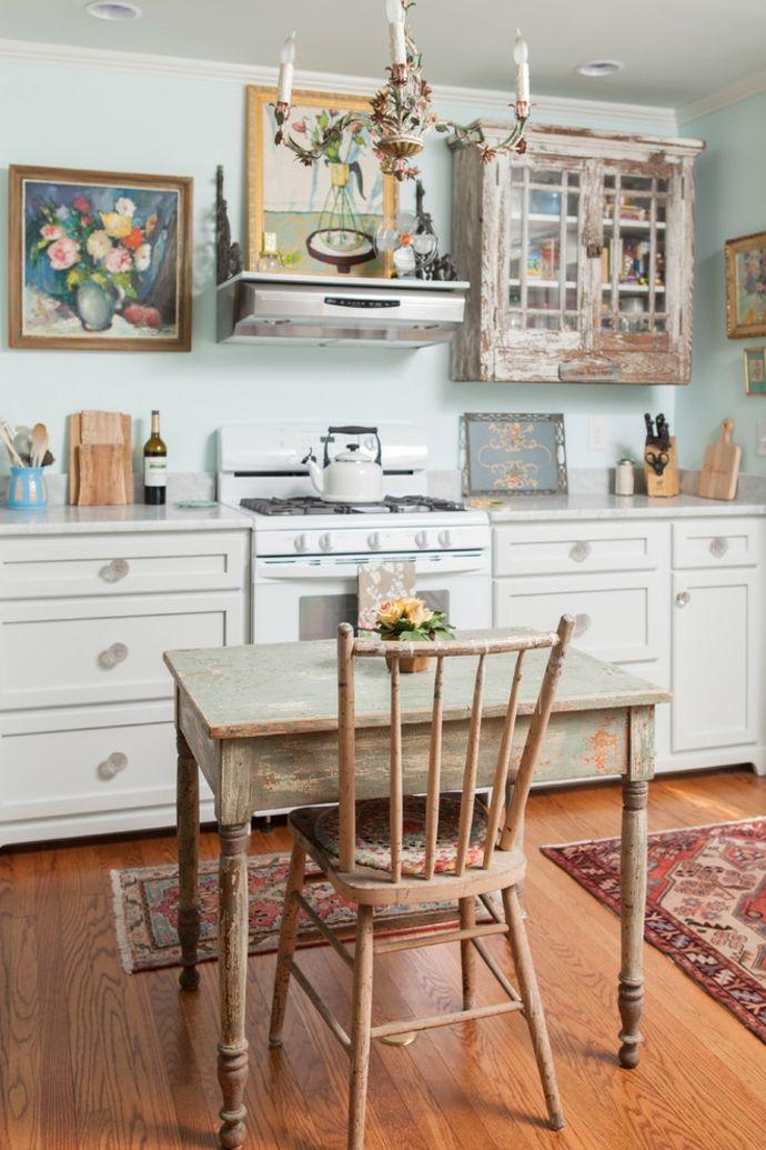 Küche Essbereich Dekoration Blumen Bilder Kunst Holzmöbel-Shabby Chic Einrichtung