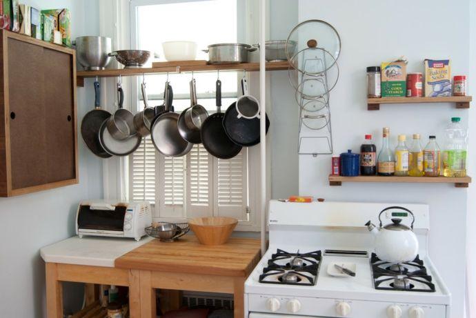 Küche Herd Holztisch praktisch Lösung kleine Küche