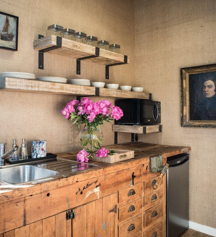 Küche Holzeinrichtung Holz Regale Schränke Arbeitsplatten Vintage-Rustikal Design