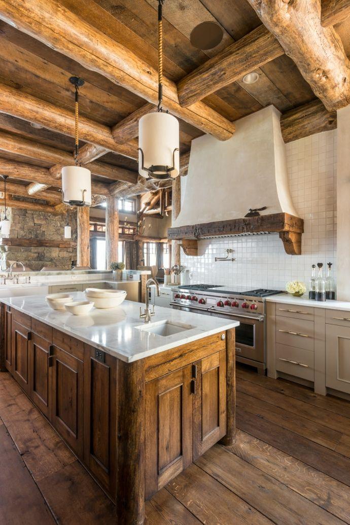 Küche Kücheninsel Saugapparat Massivholz Küchenspiegel Fliesen Hängeleuchte Marmor Holz Deckenbalken-Rustikal Interieur Design