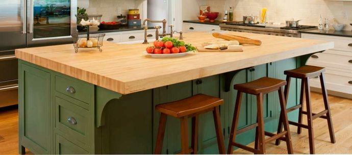 Küche Kochinsel Arbeitsplatte Holz Barhocker rustikal