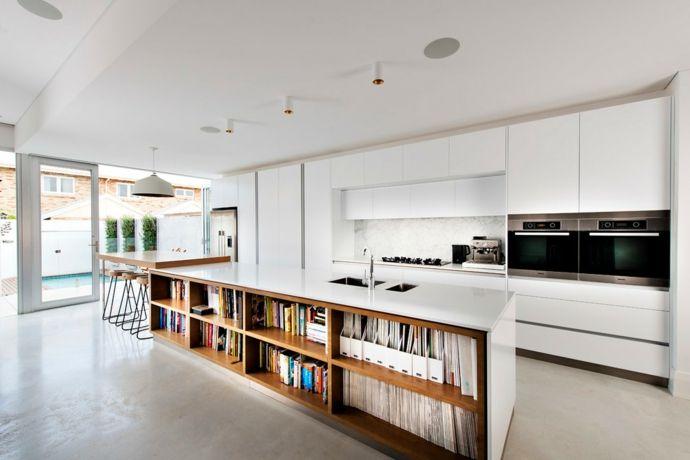 Küche Kochinsel Barhocker Aufbewahrung modern Weiß