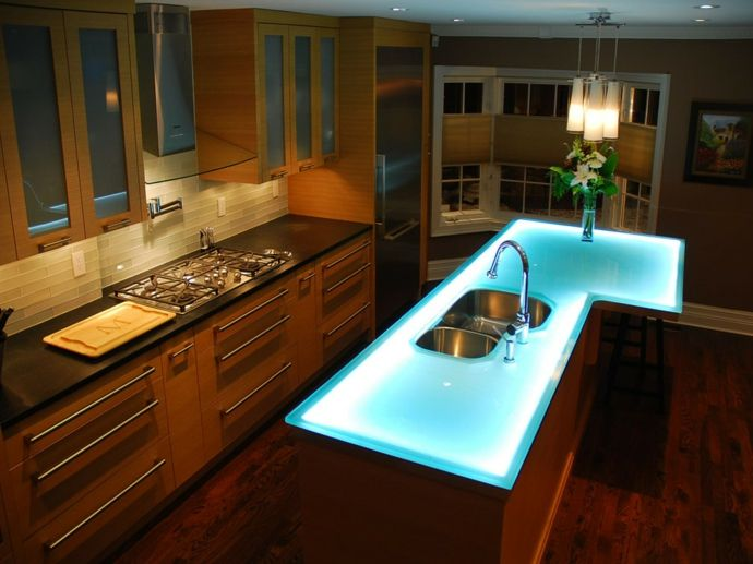 Küche Modern Holz Arbeitsplatte Glas LED Beleuchtung