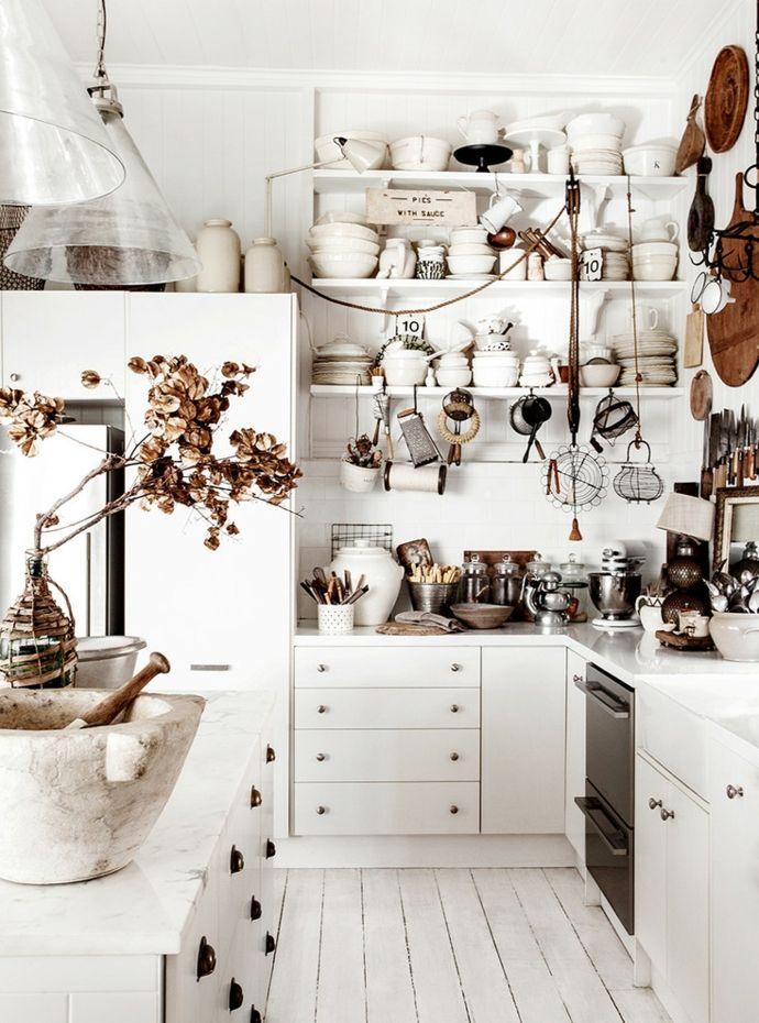 Küche offen Küchenregale Weiß-Shabby Chic modern