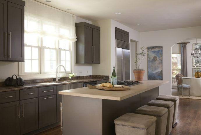 Küchendesign Küchengardinen transparent Oberschrank Küchensystem Kochinsel-Küchengardinen
