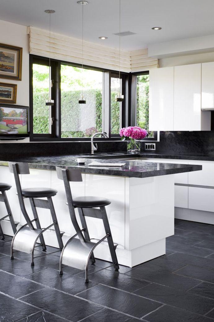 Küchendesign Kontrast Hochglanz Schwarz Weiß Raffrollos-Küchengardinen