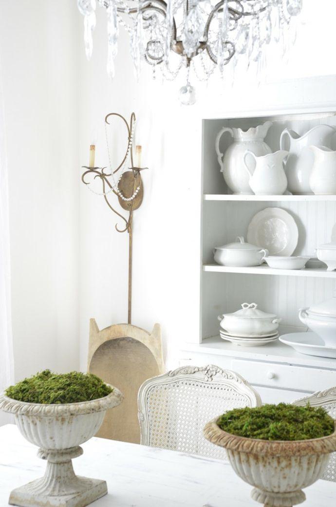 Küchenregal Geschirr Pflanzengefäße Kronleuchter Weiß-Shabby Chic Essbereich