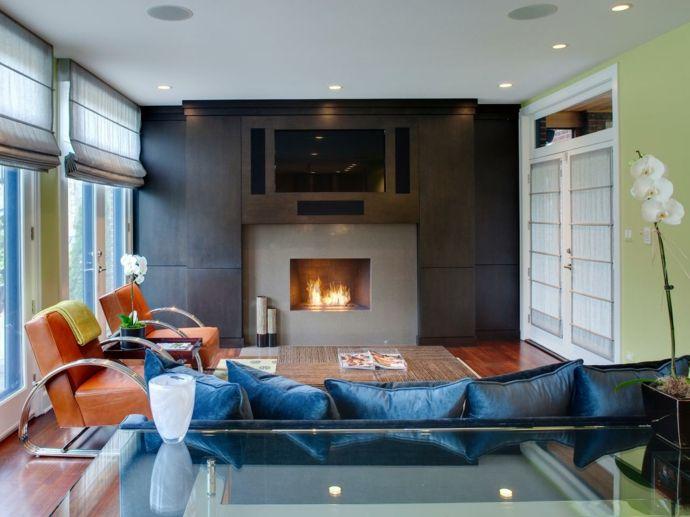 Kamin Sofa Sessel Einbaustrahler Blau Orange Grün Weiß -Feng Shui im Wohnzimmer
