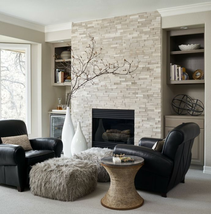 Klassisch Schwarz Und Beige Ledersessel Ziegelwand Wohnzimmer Einrichtung Ideen