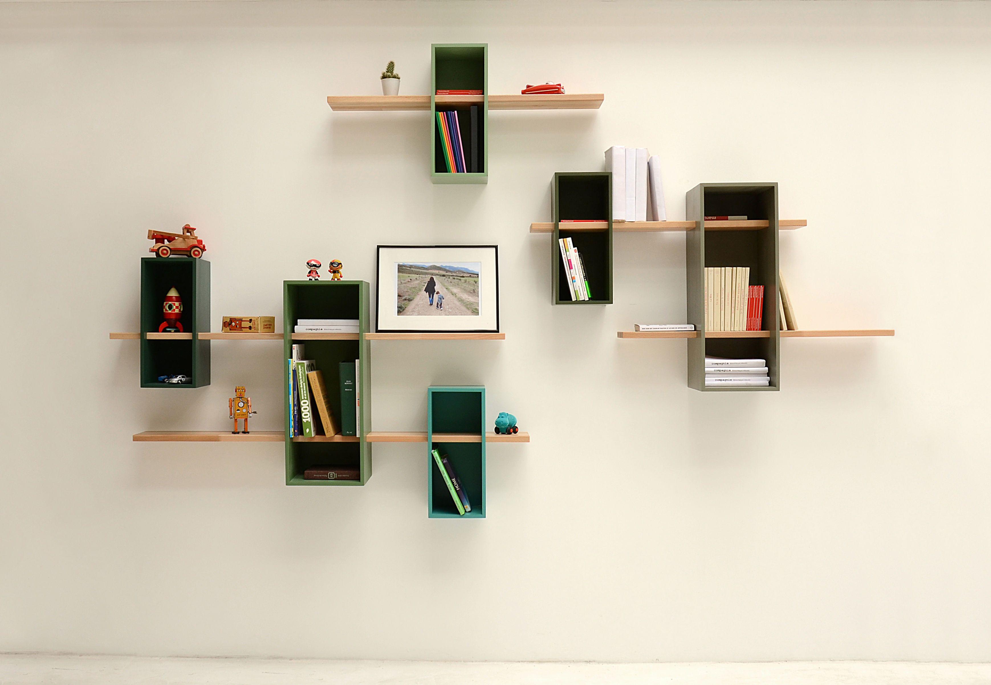 ... Idee Wand Regal Holz Grün interessant-Bücherregal design