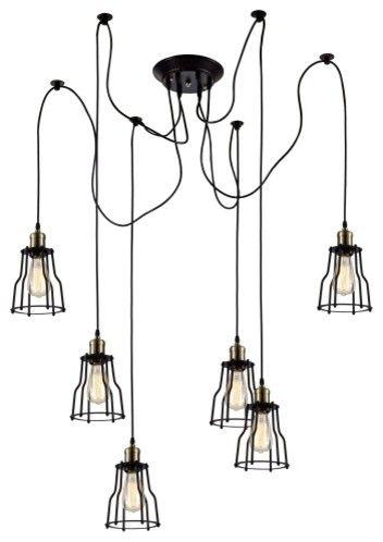 Kronleuchter 6 Lichter Retro Glühbrine-Industriedesign Hängeleuchte