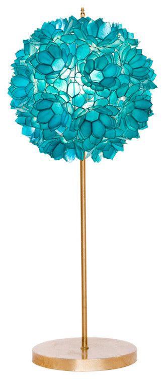 Lampe Leuchte Metall Türkisblau Goldgelb Blumen-Wohnzimmer Ideen