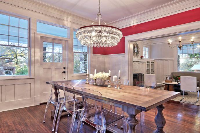 Luxuriöses Esszimmer Im Eklektischen Stil Zeitgenössische Kronleuchter Fürs  Wohnzimmer