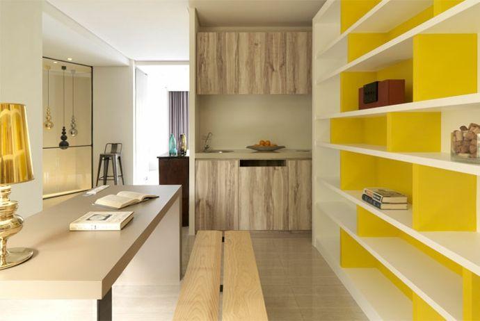 Modern Arbeitstisch Sitzbank Holz Tischleuchte Regal Bücher Einrichtung Gelb Weiß-Luxus Designer Möbel