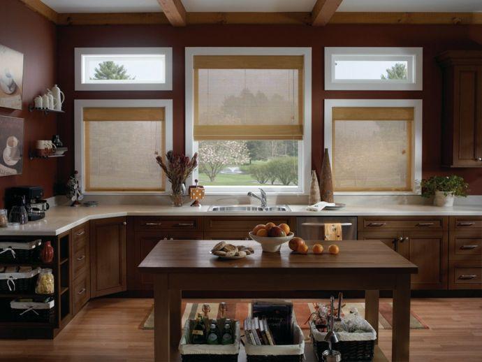 Moderne Rollos aus Bambus für die Küche-Küchengardinen