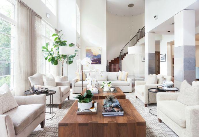 Modernes Haus Couchtisch Weiß Beige Creme-Sitzmöbel