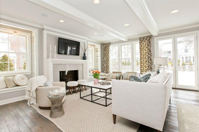 Modernes Wohnzimmer in Weiß Einbaustrahler -Sitzmöbel