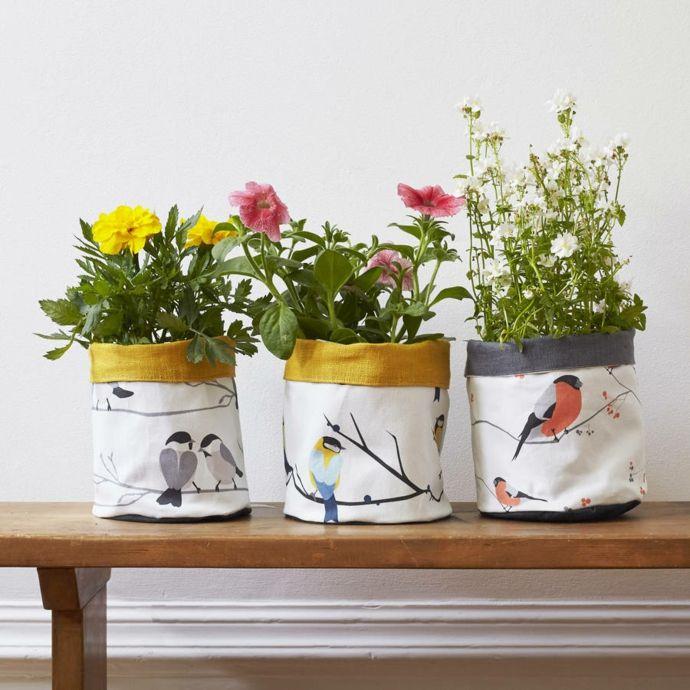Pflanzbeutel Textil farbfroh Vögel-Pflanzkübel